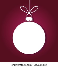 White ball ornament on purple background. Christmas illustration