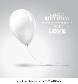 White balloon isolated on gray. Vector illustration.