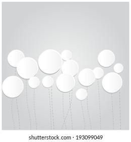 White balloons background, vector