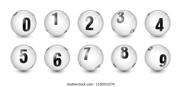 White Balls Set with Black Text Number 0 to 9