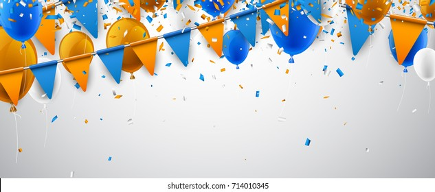 White banner with blue and orange flags and balloons. Vector illustration.
