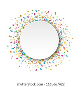 White Banner With Confetti White Background With Gradient Mesh, Vector Illustration