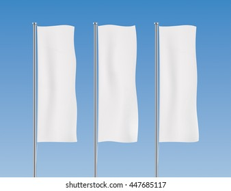 White banner flag vector templates. Row of vertical flags. Advertising flags realistic mockup.