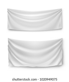 White banner flags, realistic isolated vector illustration. Wide horizontal canvases for advertising, ads, symbols and elements.