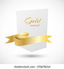 White banner with golden ribbon vector illustration