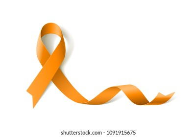White Banner with Leukemia Awareness Realistic Yellow Ribbon. Design Template for Info-graphics or Websites Magazines