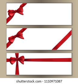 White banner with red satin ribbon and bow set. Vector decor for greeting Christmas and New year, bithday, valentines cards with text place.