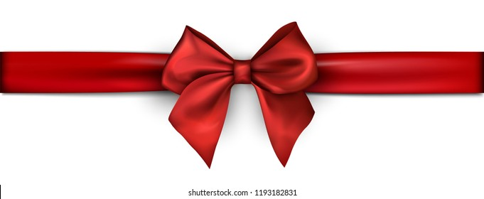 White banner with red satin ribbon with bow. Festive decoration. Vector background.