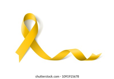 White Banner with Sarcoma Cancer Awareness Realistic Yellow Ribbon. Design Template for Websites Magazines