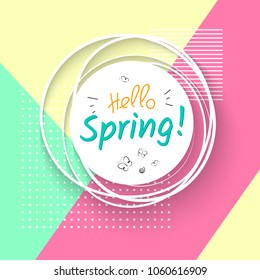 White banner with text hello spring and butterflies on a geometric modern trendy background with dots specks lines Spring festive banner for posters templates cards of spring sales Vector spring time