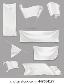White banners and flags, 3d vector set mockup