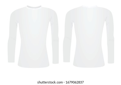 White base layer long sleeve t shirt. vector