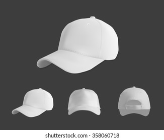 White baseball cap mockup set, vector eps10 illustration on dark background