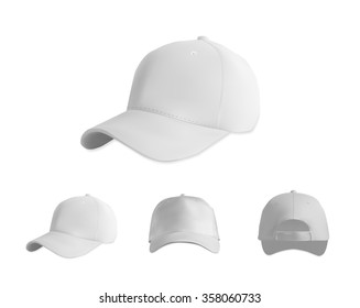White baseball cap mockup set, vector eps10 illustration on white background