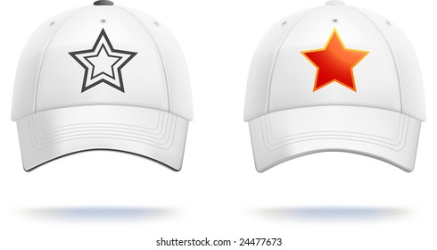 White baseball cap template (contains gradient mesh!). Small details can be easily adjusted.
