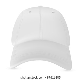 White baseball cap template. Mesh & gradients only.