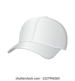 White baseball cap. Vector realistic illustration. Side view for your design