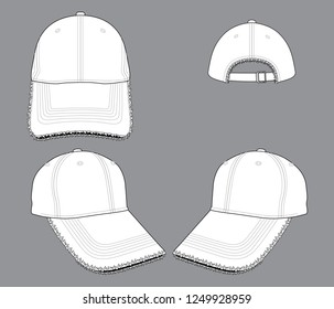 White Baseball Cap Vector  : Ripped Rim