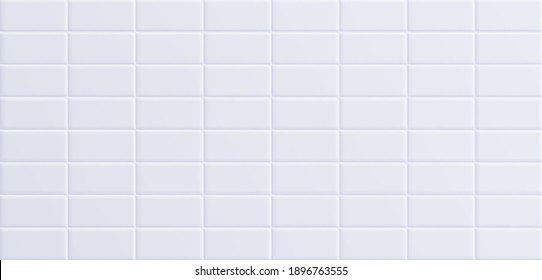White bathroom tile, clean ceramic wall surface background. Vector illustration.