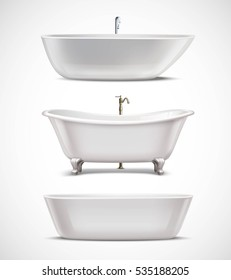 White bathtubs of different style and shape realistic set isolated on white background vector illustration