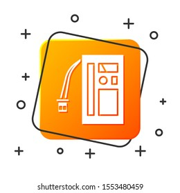 White Battery icon isolated on white background. Accumulator battery energy power and electricity accumulator battery. Orange square button. Vector Illustration