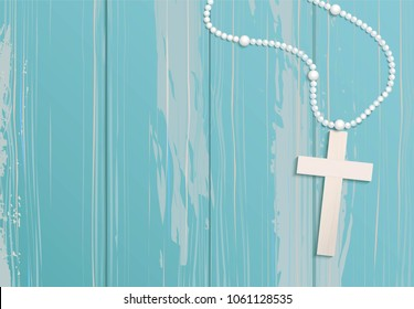 White beads and cross on blue rustic wooden background. Vector illustration