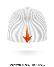 White BEANIE, back view. Extremely detailed VECTOR illustration, created with love to details.