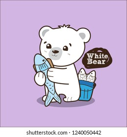 White bear and fish