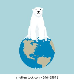 white bear at the north pole, vector illustration