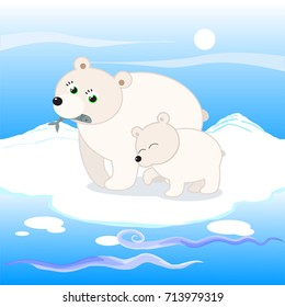 White bears at the north pole cartoon illustration