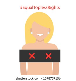 White beautiful blond woman in topless. Equal topless rights. Isolated on White Background. Cartoon Flat Vector Illustration, Clip Art