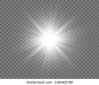 White beautiful light explodes with a transparent explosion. Vector, bright illustration for perfect effect with sparkles. Bright Star. Transparent shine of the gloss gradient, bright flash