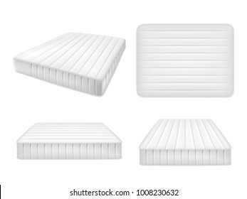 White bed mattresses set. Vector realistic illustration of high quality comfortable double mattresses isolated on white background.