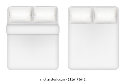White bedding set. Two beds with pillows, linen vector top view realistic illustration.