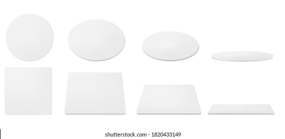 White beer coasters in top and different angles view. Vector realistic mockup of blank cardboard mat for mug or cup. Circle and square beermat, bierdeckel isolated on white background