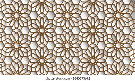 White and beige colors islamic background, arabic pattern. Arabian wallpaper. Geometric ornament  3d style vector. Texture east traditional motif