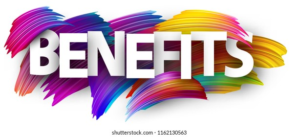 White benefits poster with spectrum brush strokes on white background. Colorful gradient brush design. Vector paper illustration.