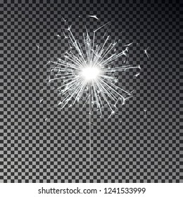 White bengal fire. New year sparkler candle isolated on transparent background. Realistic vector light effect. Party backdrop. Sparkler vector. Magic light. Winter Xmas decoration illustration.