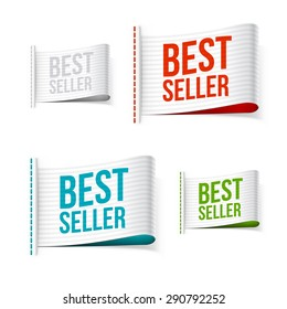 White bestseller labels with shadow. Isolated vector illustration.