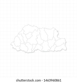 White Bhutan map and grid vector. Thin gray outline on white background. EPS10.