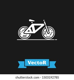 White Bicycle icon isolated on black background. Bike race. Extreme sport. Sport equipment.  Vector Illustration