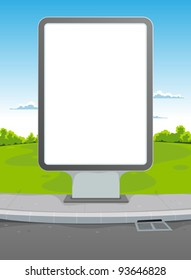 White Billboard On Urban Background/ Illustration of a cartoon landscape with billboard for advertisement background
