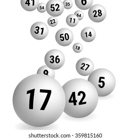 White Bingo Balls. Lottery Number Balls. Vector illustration.