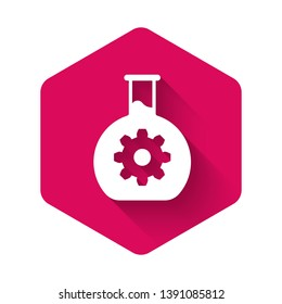White Bioengineering icon isolated with long shadow. Element of genetics and bioengineering icon. Biology, molecule, chemical icon. Pink hexagon button. Vector Illustration