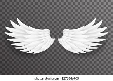 White bird angel fly wings realistic 3d design transparent background vector illustration