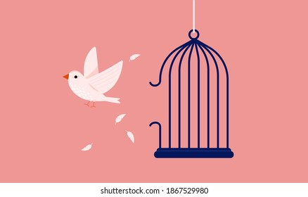 White bird break out of cage - A symbol for freedom and breaking free from captivity. Vector illustration.