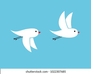White birds flying on blue background waving their wings up down