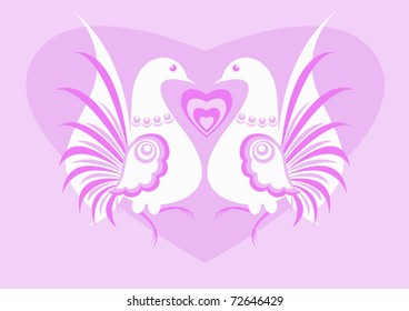 White birds /  The vector image of heart between two white birds on a pink background. The different graphics are all on separate layers so they can easily be moved or edited individually.