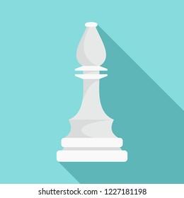 White bishop piece icon. Flat illustration of white bishop piece vector icon for web design