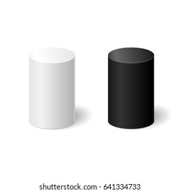White and black 3D cylinders with a shadow. Vector illustration.
